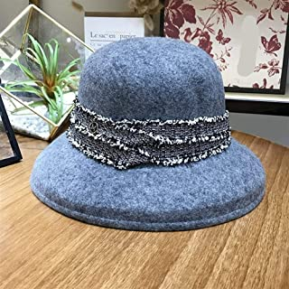 KCBYSS Elegant Style Wool Ribbon Leisure Lady Bucket Cap Women Fishermen Hat (Color : Gray, Size : 57cm)