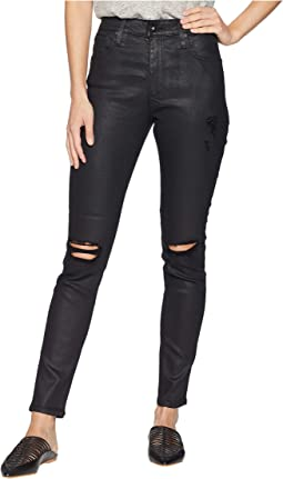 Farrah Skinny Ankle in Lacquered Distressed Pure Black