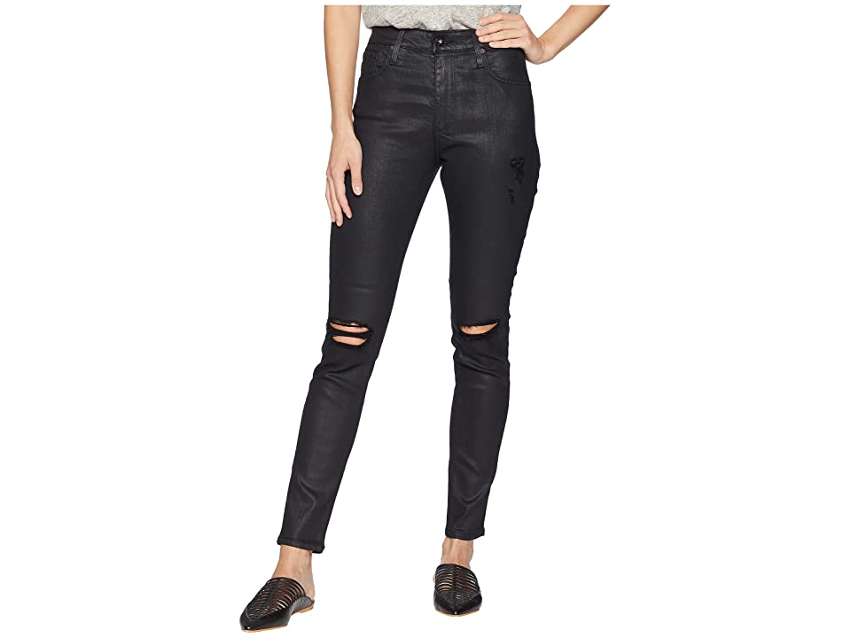 AG Adriano Goldschmied Farrah Skinny Ankle in Lacquered Distressed Pure Black (Lacquered Distressed Pure Black) Women's Jeans, Blue