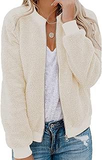 Womens Fleece Fuzzy Jacket Long Sleeve Casual Zip Up Coat Pocket with Pocket