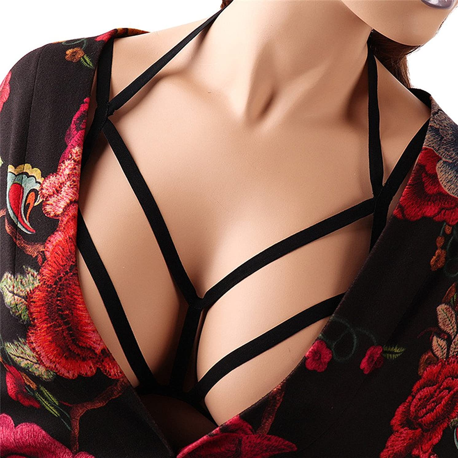 MSOO Sexy Women Hollow Out Elastic Cage Bra Bandage Strappy Halter Bra Bustier Top
