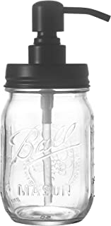 Easy-Tang Clear Glass Soap Dispenser for Kitchen, Bathroom - Refillable Wash Hand Liquid Bottle, 16 Oz Mason Jar with Black Pump Holder, Ideal for Dish Detergent, Essential Oil, Shampoo Lotion