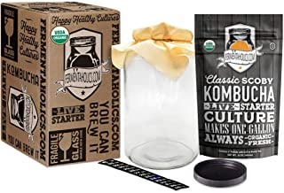 Kombucha Essentials Kit - ORGANIC SCOBY (starter culture) + 1-Gallon Glass Fermenting Jar with Breathable Cover + Rubber B...