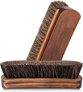 """6.7"""" Horsehair Shoe Shine Brushes with Horse Hair Bristles and Wooden Handle for Boots, Shoes & Other Leather Care"""