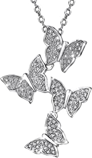 Sterling Silver Pendant Necklace Butterfly Cubic Zirconia Necklaces for women 16-18 inch
