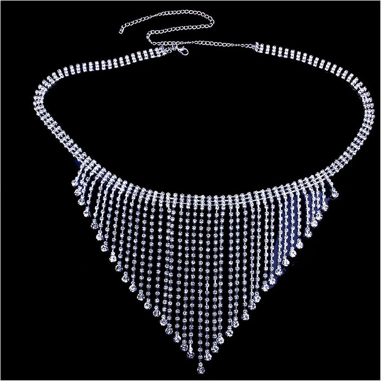 YEZIQ Body Chain- Tassel Rhinestone Body Chain Bra and Thong for Women Bling Sexy Bikini Set Crystal Cover Up Harness Jewelry Nightclub (Main Stone Color : Gold, Metal Color : Set)