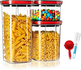 Miuly Airtight Cereal Storage Containers Set, 3PCS Plastic Food Storage Containers Set, Premium Kitchen Pantry Organizatio...
