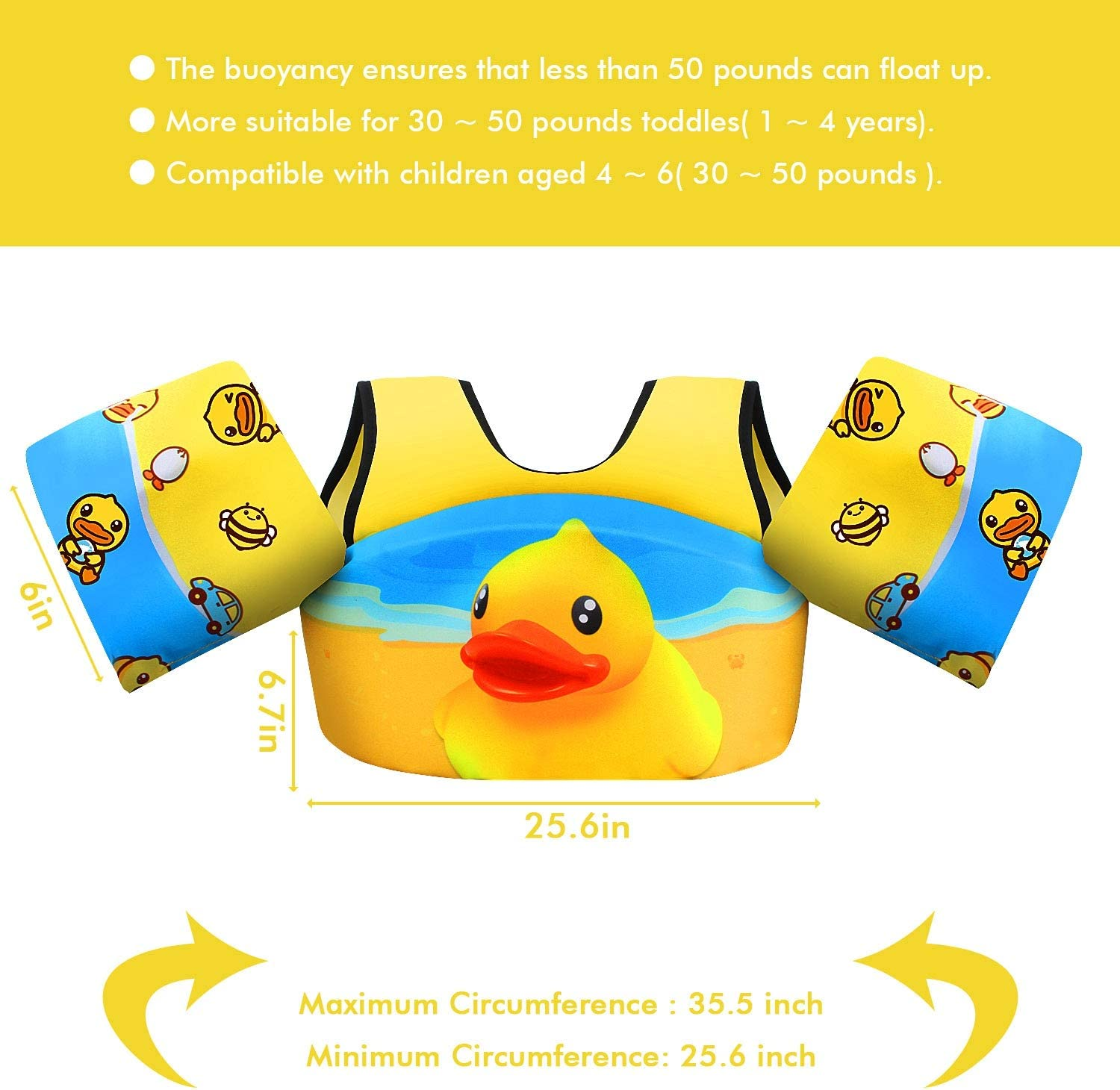 Chriffer Kids Swim Vest for 30-50 Pounds Boys and Girls Toddler Floats with Shoulder Harness Arm Wings for 2,3,4,5,6,7 Years Old Baby Children Sea Beach Pool