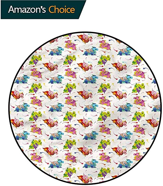 RUGSMAT Dragon Round Area Rug Pixie Dust Colorful Stars Pattern Floor Seat Pad Home Decorative Indoor Diameter 59