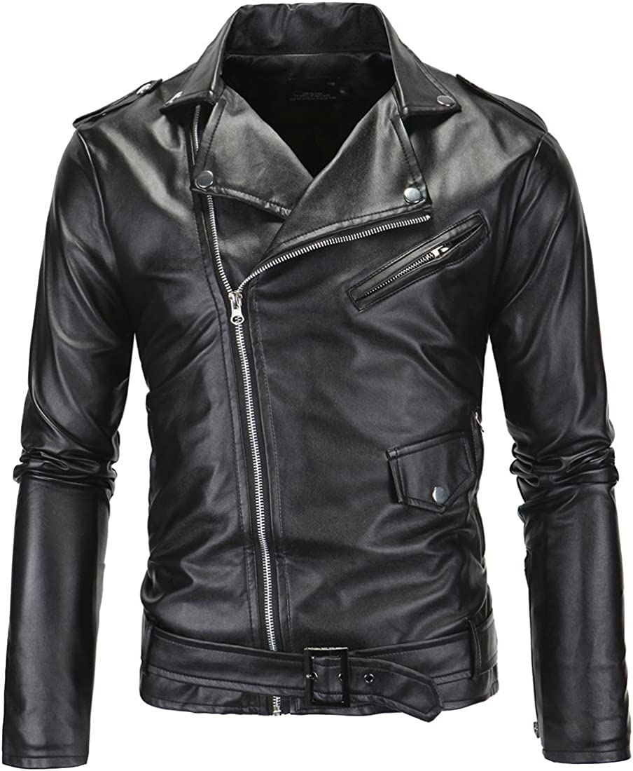 Venxic Turn-Down Collar Oblique Max 62% OFF Zipper Fit Leath Motorcycle Slim Max 84% OFF
