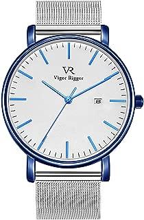 Vigor Rigger Men's Fashion Slim Quartz Date Wrist Watch with Leather & Mesh Band