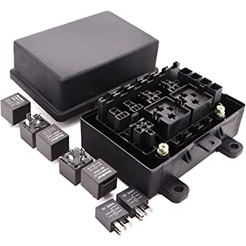 Amazon.com: Waterproof Fuse Relay Box with 7 Relays and 10 Fuses for  Automotive and Marine, 9-Slot Blade Fuse Holder Fuse Box(3 Reserved),7-Slot  Bosch Style Relay Holder,5-Slot Socket for Jeep Boat Car OrAmazon.com