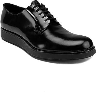 d6231806bccb18 Prada Men's Brushed Leather Derby Oxford Dress Shoes Black