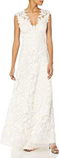 Tadashi Shoji Women's V Neck Lace Bridal Gown