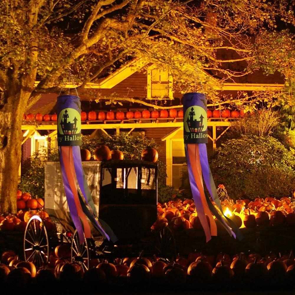 2, Puple CHWARES 40 Inch Halloween Flag Windsock Pumpkin Ghost Castle Halloween Windsock Flag Hanging Decoration Patio Lawn Garden Party