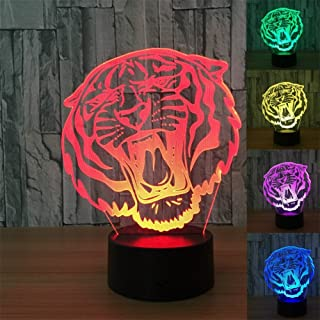 ZTOP Abstractive 3D Optical Illusion Animal Tiger Colorful Lighting Effect Touch Switch USB Powered LED Decoration Night Light Desk Lamp