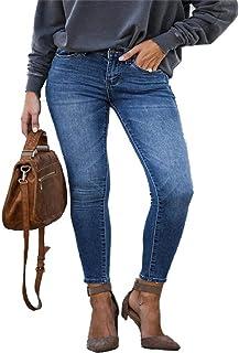 N\P Pantalones Vaqueros de mamá para Mujer, Pantalones Vaqueros de Cintura Media para Mujer, Pantalones Vaqueros elásticos...