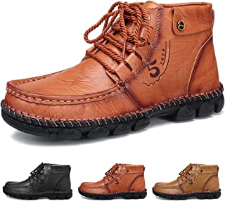 gracosy Herr läder ankelstövlar vinter päls fodrade varma loafers skor handsydda vardagliga platta promenadstövlar vattent...