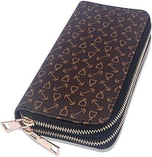 OXYTRA Womens Wallet Ladies RFID Blocking Purse Credit Card Holder Organizer PU Leather Clutch for Girls (Brown B)