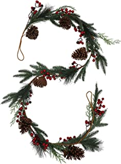 vensovo Artificail Christmas Pine Garland - 6 FT Christmas Decoration Garland with Pinecones Spruce Cypress, Winter Holida...