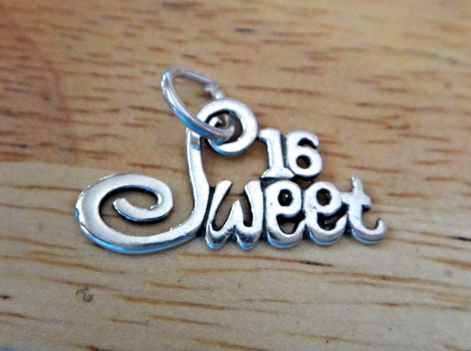 Sterling Silver 21x12mm Max 49% OFF Sweet 16 Max 51% OFF 16th by Birthday Wholesa Charm