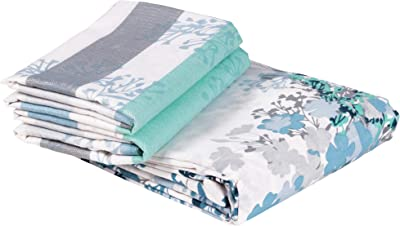 Story@Home 120 TC Cotton Candy Collection 1 Double Bedsheet and 2 Pillow Cover - Floral, Blue कपासडबलबेडशीट