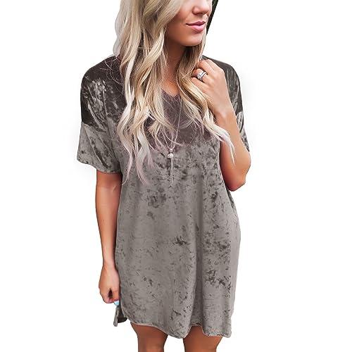 5e7bd275575 Misassy Womens Vintage Crushed Velvet Crew Neck Short Sleeve Loose Tunic T  Shirt Tops Casual Mini