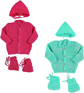 30d663914500 EIO Baby Woollen Knitted 3 Pieces Baby Set- Pack of 2 (Strawberry Turquoise,