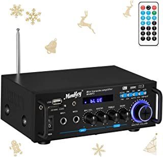 Moukey Bluetooth Home Audio Power Amplifier - Portable 2 Channel Sound Audio Stereo Desktop Amp Receiver with FM Radio, MP...