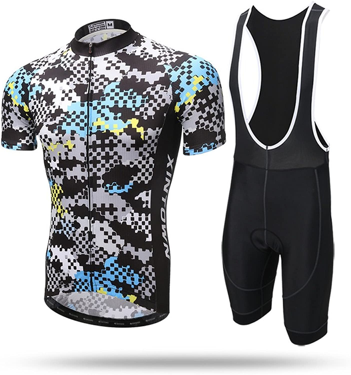 Pinjeer 100% Polyester Men's Cycling Clothing with color Grid Pattern 2018 Newest Summer Dresses,Breathable Multicolor Jersey Men Shorts Sets with Suspender Pants for Racing Bike,Quick Dry Outdoors S