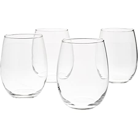 Amazon Basics Stemless Wine Glasses (Set of 4), 15 oz