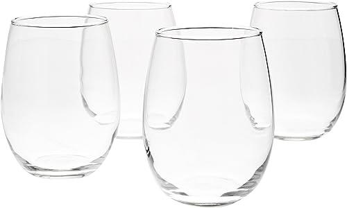 AmazonBasics - Copas de vino multiusos, Set de 4, Transparente, 443,6ml