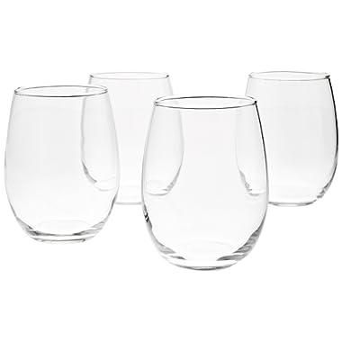 AmazonBasics Stemless Wine Glasses (Set of 4), 15 oz