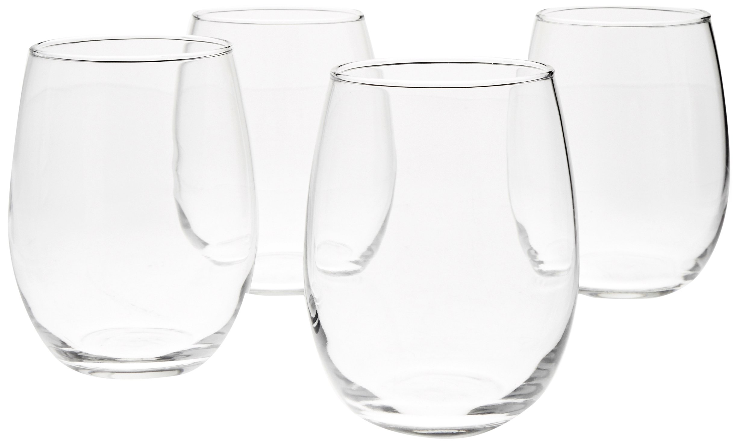 Amazon Com Amazon Basics Stemless Wine Glasses Set Of 4 15 Oz Wine Glasses