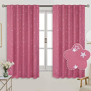 BGment Rod Pocket and Back Tab Blackout Curtains for Kids Bedroom - Sparkly Star Printed Thermal Insulated Room Darkening Curtain for Nursery, 42 x 63 Inch, 2 Panels, Pink