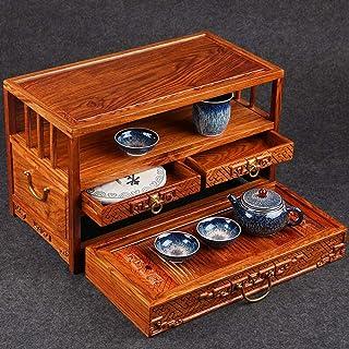 Yamyannie Organisateur de Rangement pour boîte à thé Rosewood thé Boîte à thé en Bois Massif Ouvert Boîte à thé Plateau à ...
