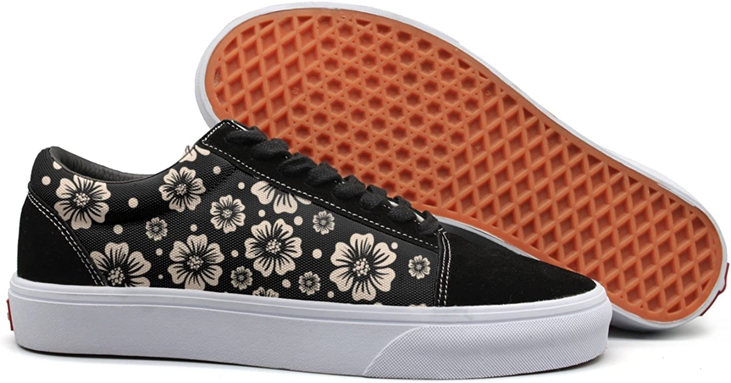 Feenfling Edible Flowers On A Dark Background Womens Flat Canvas Tennis shoes Low Top Classic Sneakers shoes for Woman