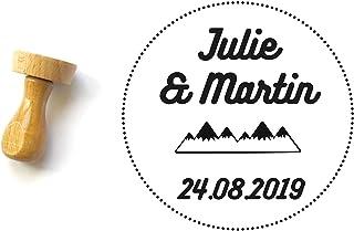 Timbro matrimonio personalizzato, forma rotonda 4 cm, con nomi, matrimonio invernale, montagna