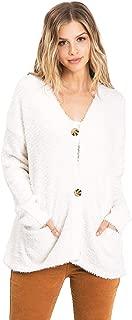 Lana Roux Women's Juniors Soft Slouchy Eyelash Knit Cardigan