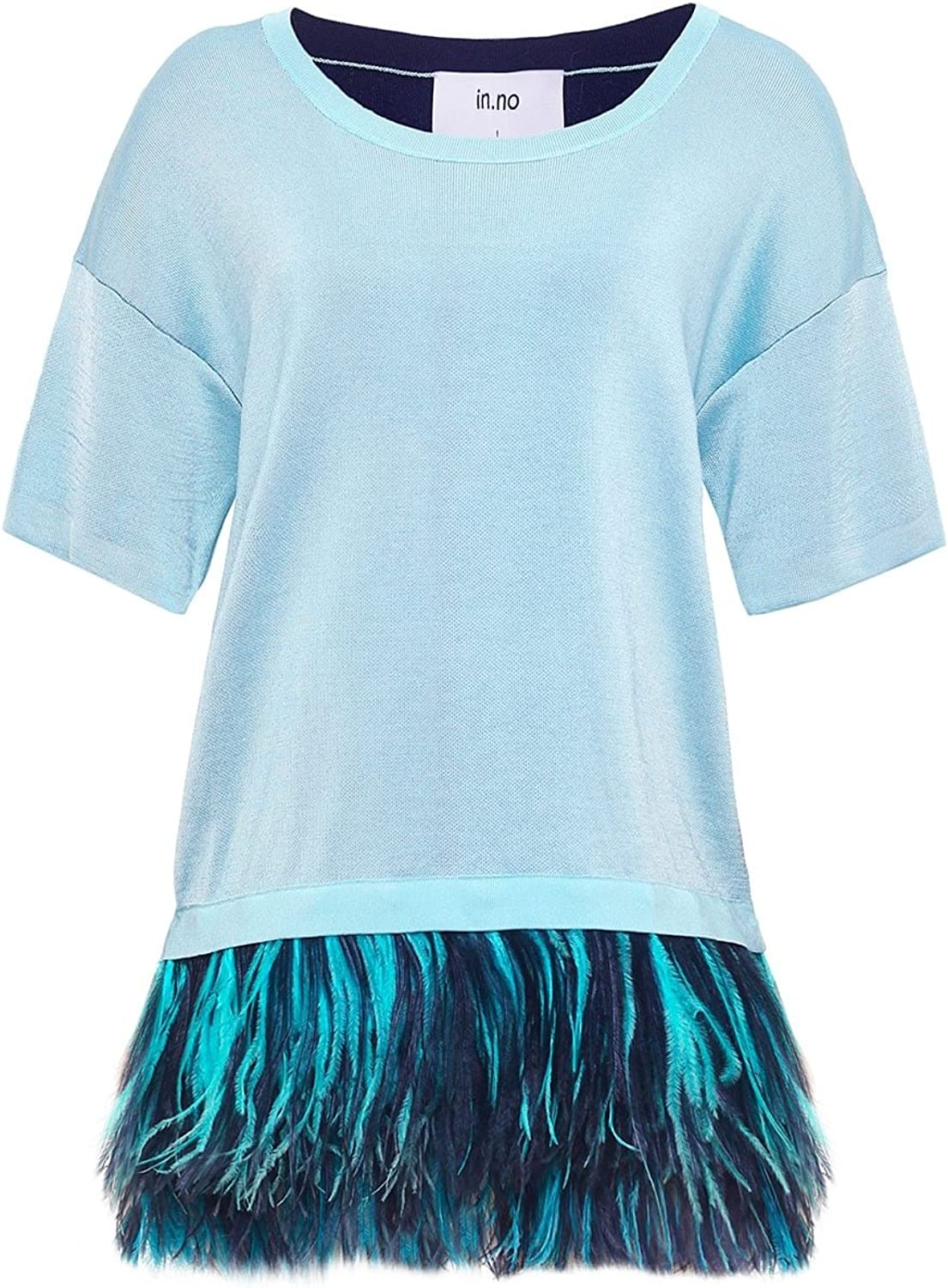 In.no Women's Cashmere Blend Adele Feather Trim Top Navy