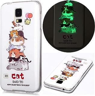 جراب لهاتف Samsung Galaxy S5 من EnjoyCase ، تصميم القط المرح ناعم للغاية متوهج ليلي متوهج مرن من السيليكون المطاط المقاوم ...