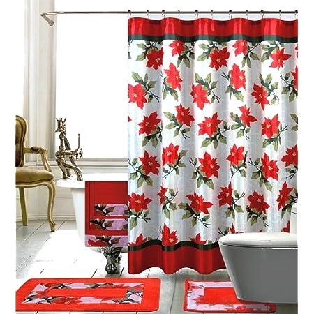 Christmas 14 Piece Bath Set Poinsettia Shower Curtain Rug 17 X 24 12 Roller Hooks Home Kitchen