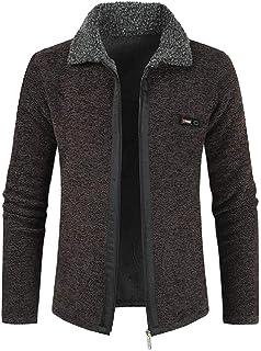 Macondoo Men's Fashion Coat Sweater Fleece Lined Knit Zipper Up Cardigans