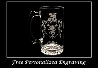 Molloy Irish Family Coat of Arms 16oz Beer Stein: Free Shipping & Personalized Engraving