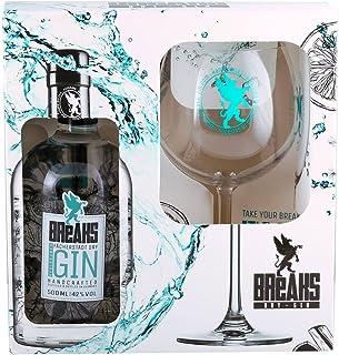 Breaks Premium Dry Gin - Geschenk Set - Ausgezeichneter Gin mit Lavendel & frischen Zitronen - Mild fruchtige Note - Handmade - 1 x 0,5 L  1 x Glas
