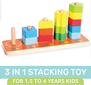 Orapple Wooden 3 in 1 Stacking Tower Toy for Baby for Boys and Girls of 1.5,2,3,4 Years Old Age