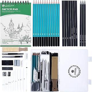 50PCS Drawing Set Sketch Drawing Kit Sketch Pencil Set Drawing Kit Art Supplies with Graphite Charcoal Sticks Tool Sketch ...