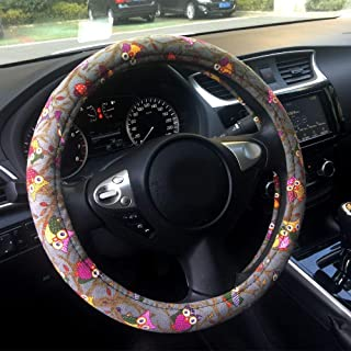 Rayauto Automotive Interior Ethnic Style Flax Cloth Wrap Anti Slip Car Steering Wheel Cover 15