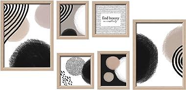 ArtbyHannah - Kit de pared para galería de varios tamaños con fotos decorativas abstractas para pared con plantilla para colg