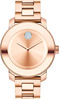 Women's BOLD Iconic Metal Rose Gold Watch with a Flat Dot Sunray Dial, Gold/Pink (3600086)
